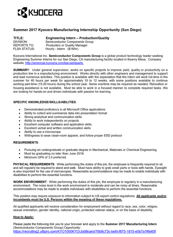 society of women engineers sdsu internshipsjobs - Production Engineering Job